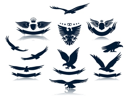 Eagle Silhouettes Set 3 Vector