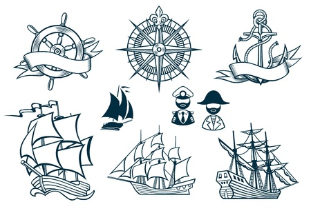 Sailing ships emblems Iconset Vector