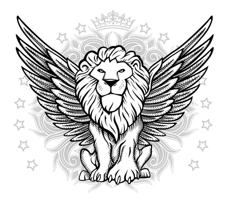 white lion: Winged Lion Front View Drawing Illustration