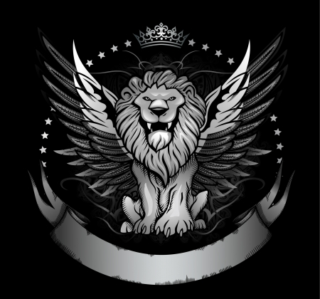 Winged Lion Front View Insignia Vector