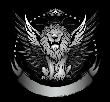 leon con alas: Winged Lion Vista frontal Insignia