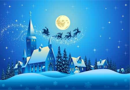 reindeers: Church and Houses in the Christmas Night Illustration