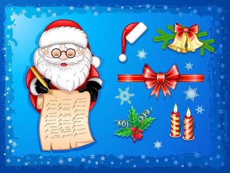 santaclaus: Santa-Claus writing on scroll with Christmas icons-set Illustration