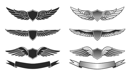 tattoo wings: Winged insignias and ribbons