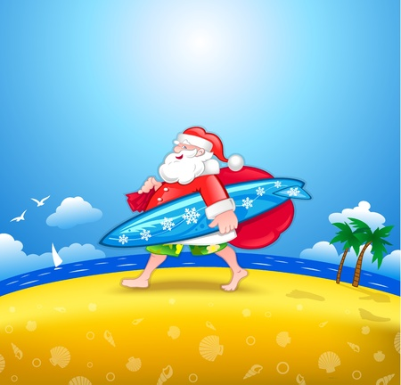 Walking Santa with surfboard Vector