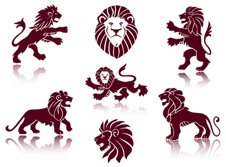 Lions Silhouettes set Stock Vector - 17856986
