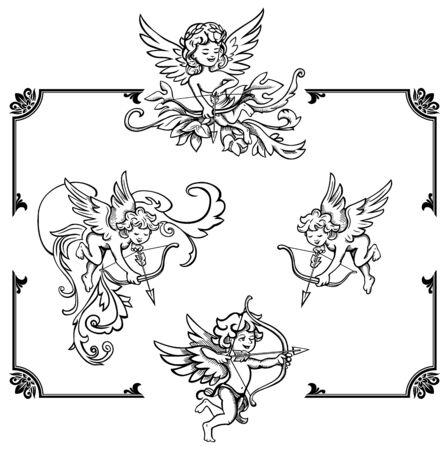 valentine cherub: Cupids with ornament frame