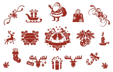 Christmas decorative elements set   Vector
