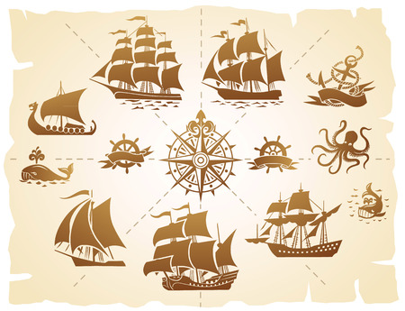 galleon: Set of various marine emblem silhouettes