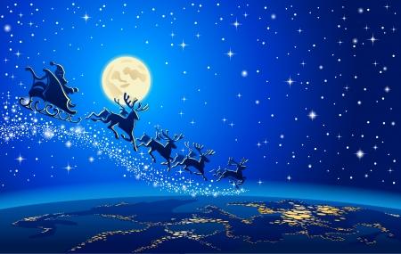 papa noel en trineo: Trineo de Santa descender a la Tierra desde el espacio
