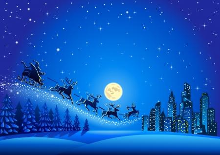 descending: Christmas Santa Descending to the Big City