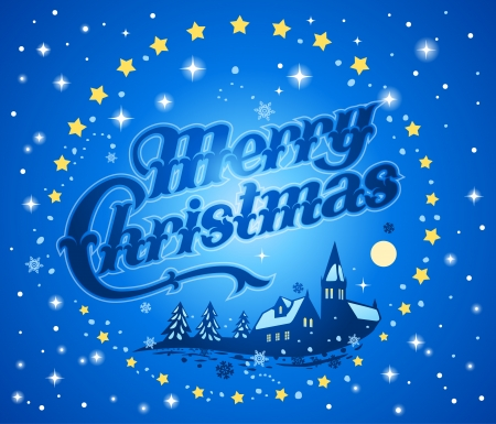 merry christmas text: Christmas winter banner with Merry Christmas text