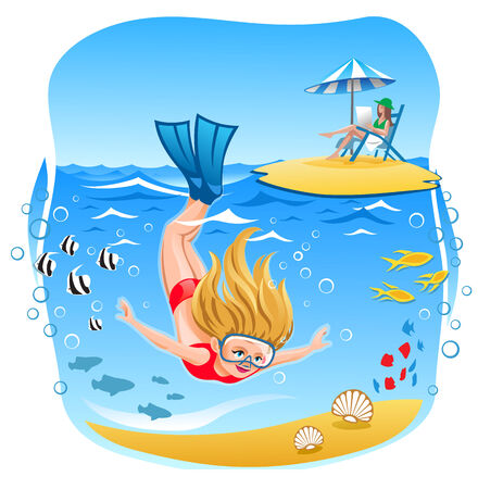 blond hair: Blond Hair Girl dives into the water