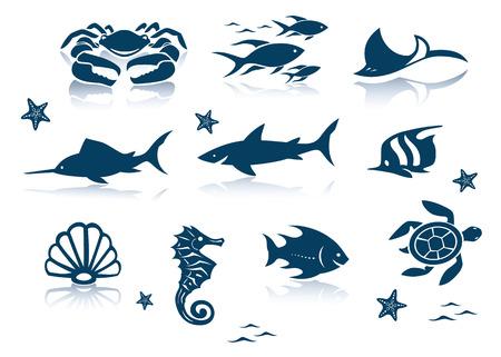 Marine life icon set Vector