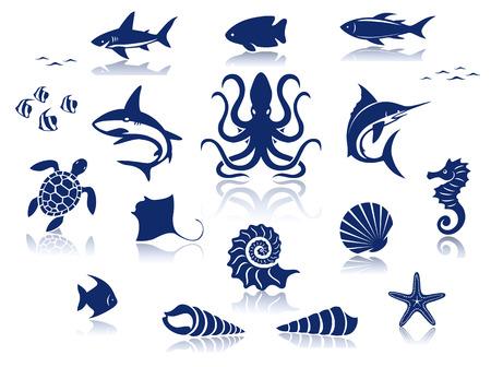 Marine life icon set  Ilustração