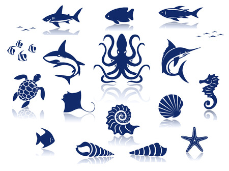Marine life icon set  Illustration