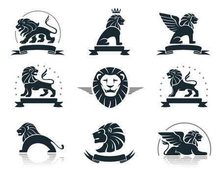 lion dessin: Emblèmes fixés avec des lions