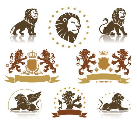 winged lion: Leones heraldics establecidos con pancartas, ornamentos y coronas
