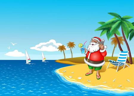 Santa with smartphone at the tropical coast with cocktail in hand Vector