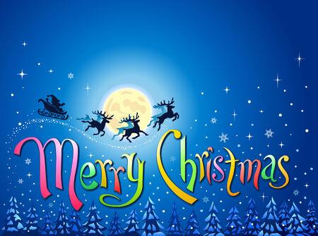 merry christmas text: Navidad paisaje de invierno con el texto �Feliz Navidad