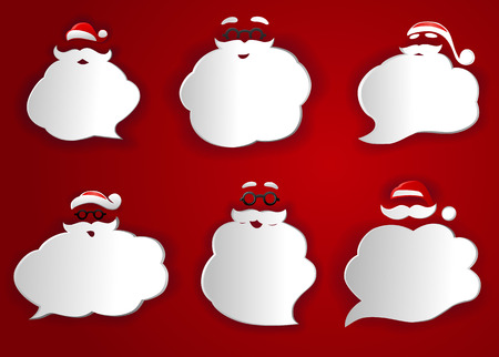 thought bubbles: Santa Speech Bubbles Silhouettes Illustration