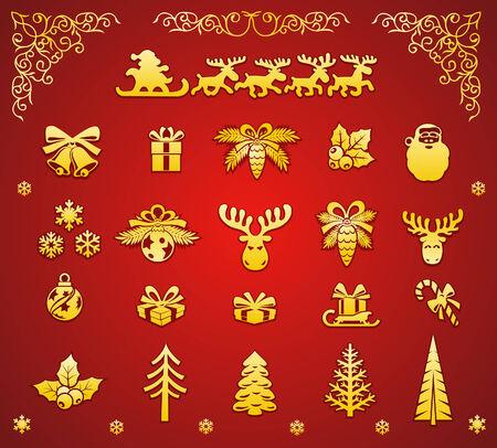 hollyberry: Christmas Golden Decorative Elements Set