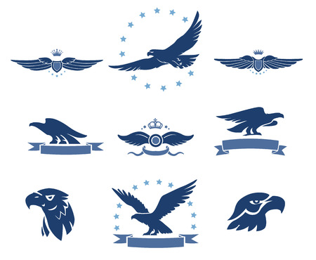 flying birds: Eagles Silhouettes and Winged Insignias Set