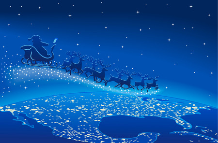 delivers: Illustration of Santa Claus and reindeer flying through starry blue sky over planet earth, Christmas scene.