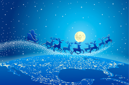 delivers: Illustration of Santa Claus and reindeer flying through starry blue sky over planet earth Illustration