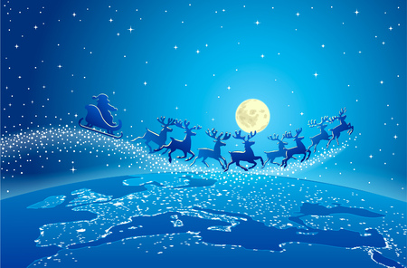 Illustration of Santa Claus and reindeer flying through starry blue sky over planet earth Illustration