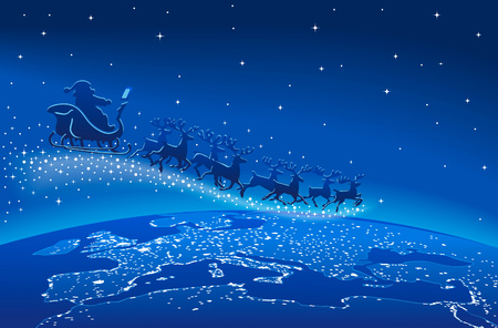 heaven on earth: Illustration of Santa Claus and reindeer flying through starry blue sky over planet earth Illustration