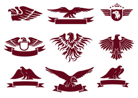 Eagles Silhouettes and Winged Insignias Set Vector