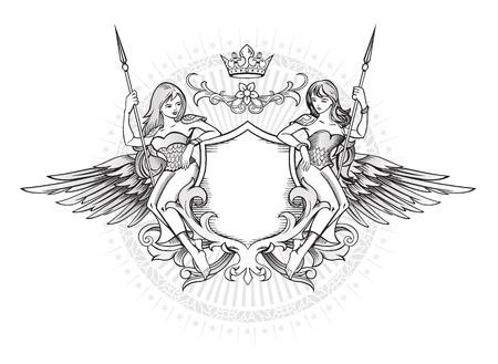 Winged Emblem met twee langharige meisjes die het schild