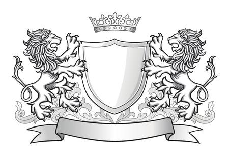 dessin noir et blanc: Deux Shield Tenir Lions avec la couronne et bannière
