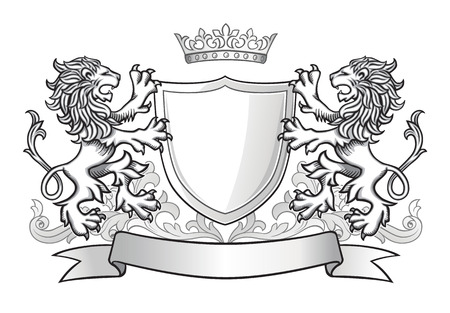 white lion: Two Lions Holding Shield with Crown and Banner