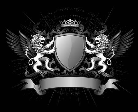 Dos Leones Holding escudo con la corona y la bandera Foto de archivo - 41487587