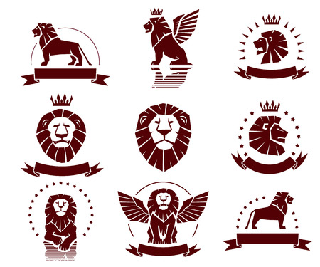 lion dessin: Un ensemble de lions simples illustrations