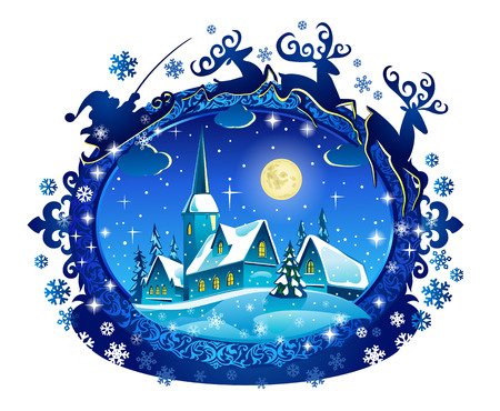 Santa Sleigh Silhouette and Christmas Nihgt Landscape