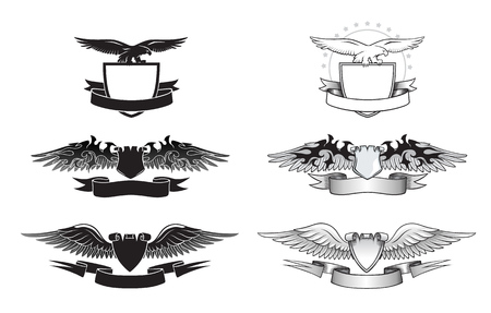 shield with wings: Set of black and white winged insignias Illustration
