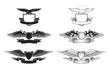 Set van zwarte en witte gevleugelde insignes