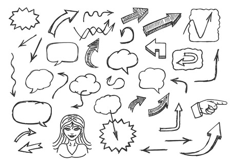 woman speaking: Hand drawn arrows and speech bubbles Illustration