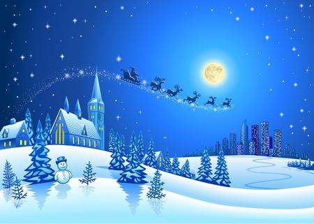 noche y luna: Silueta del trineo de Santa y Navidad Paisaje Nihgt
