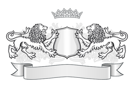elaborate: Crest with two lions, a shield with a crown and banner. Illustration