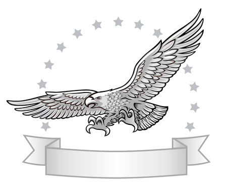 flying stars: Spred Winge Eagle Hunting. Stars and Ribbon with Text Space at the Background.