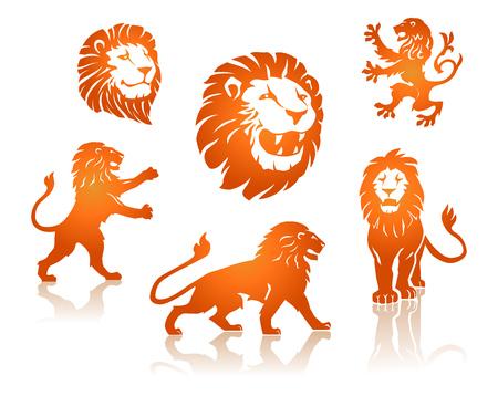Lions Silhouettes set Vektorové ilustrace