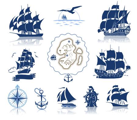 Ensemble de diverses silhouettes d'emblèmes marins et carte antique de l'île