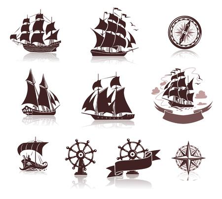 Ensemble de différentes silhouettes de bateaux et symboles marins.