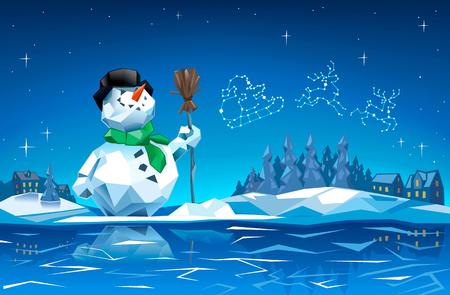 산타 썰매와 크리스마스 밤에 눈사람.