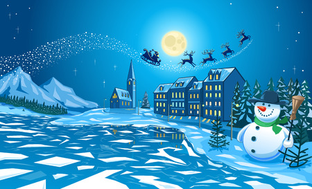 Illustration of cold cold Winter scene of a snowman with carrot nose, scarf and hat and with Santa Claus overhead on his sledge pulled by four reindeer across a starlit sky. Illustration