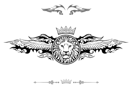 Winged Lion Shield Insignia isolated on plain background Illustration